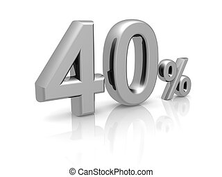 40 percents discount symbol with reflection isolated white...