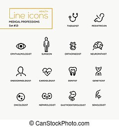Medical Professions - line design pictograms set - Medical...