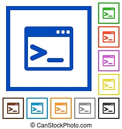 Command prompt framed flat icons - Set of color square...