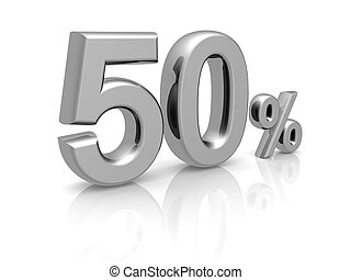 50 percents discount symbol with reflection isolated white...