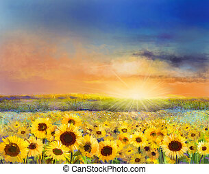 Oil painting of a rural sunset landscape with a golden sunflower field