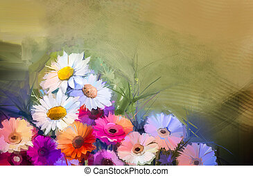 Oil painting still life bouquet of White,Yellow and Orange...