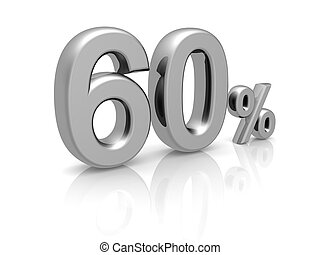 60 percents discount symbol with reflection isolated white...
