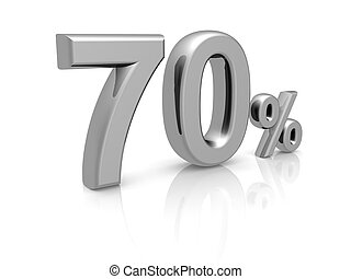 70 percents discount symbol with reflection isolated white...