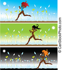 The girl in bikini runs on a grass, 3 illustrations
