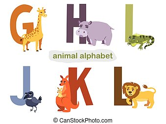 ABC. set of letters and animals for children's learning books. vector