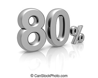 80 percents discount symbol with reflection isolated white...