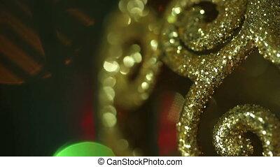 openwork gold Christmas ball. macro HD