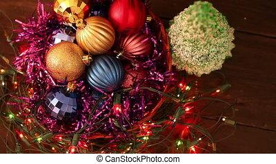 Christmas balls and garland flashing