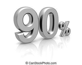 90 percents discount symbol with reflection isolated white...