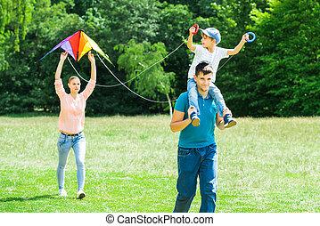 飛行, 公園, 凧, 家族