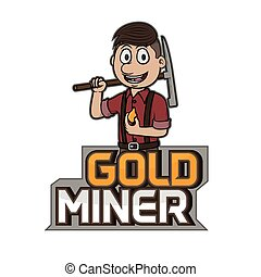 logotipo, minero, diseño, oro, Ilustración