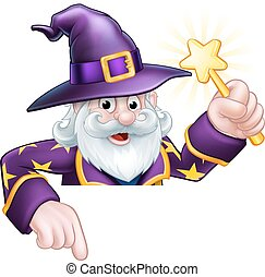 Cartoon Wizard Pointing - A cartoon wizard Halloween...