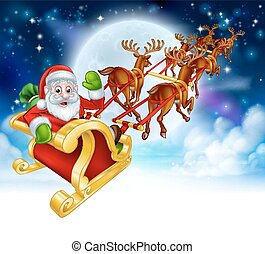 Santa Reindeer Sleigh Cartoon Christmas Scene - Santa Claus...