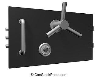 Black safe door 3D Illustration on white background for...