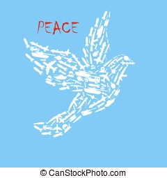 The poster for the day of peace. No war. Dove symbol of...