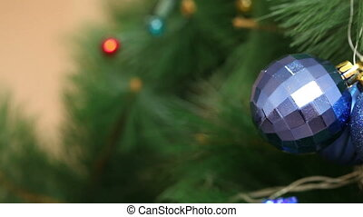 Blue ball on Christmas tree HD