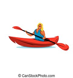 Vector Woman in canoe. Kayaking Cartoon Illustration. - Girl...