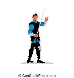 Vector Medieval warrior, knight Cartoon Illustration. -...