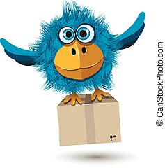 Blue Bird with a box
