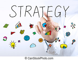 Strategy Business Concept - Businessman hand is pointing the...