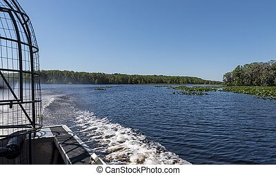 the view behind an air boat
