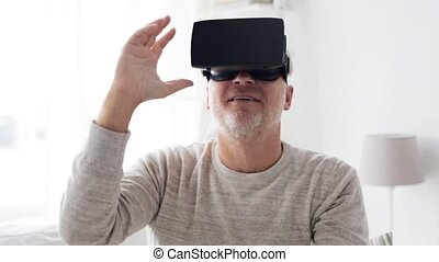 old man in virtual reality headset or 3d glasses 4 - 3d...
