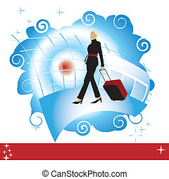Woman with suitcase at the airport, place for your text