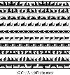Set different borders greek ornament patterns