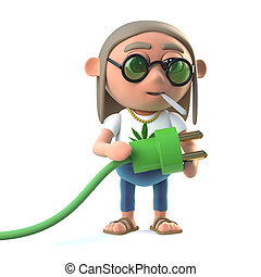 3d Hippie stoner uses green energy - 3d render of a hippie...