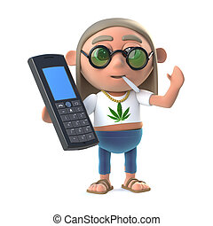 3d Hippie stoner with a mobile phone - 3d render of a hippie...