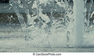 streams of water in a fountain Slow motion video - large...