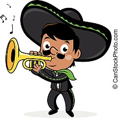 Mexican mariachi man wearing a sombrero, and playing the...