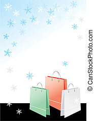 Shopping bags on christmas background