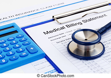Medical bill and insurance form with calculator - Medical...