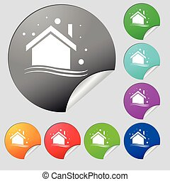 Winter house icon sign. Set of eight multi colored round buttons, stickers. Vector