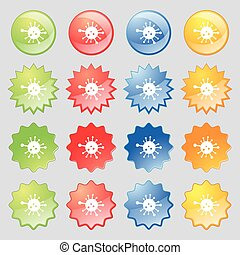 Bacteria icon sign. Big set of 16 colorful modern buttons for your design. Vector