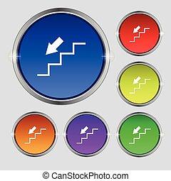 descent down icon sign. Round symbol on bright colourful...