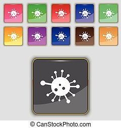 Bacteria icon sign. Set with eleven colored buttons for your site. Vector