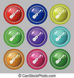 acoustic guitar icon sign. symbol on nine round colourful buttons. Vector