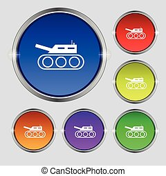 Tank, war, army icon sign. Round symbol on bright colourful...
