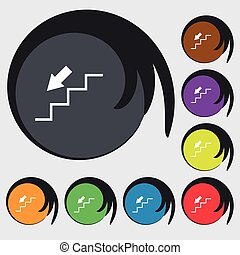 descent down icon sign. Symbols on eight colored buttons....