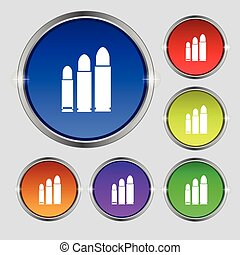 bullet Icon sign. Round symbol on bright colourful buttons....