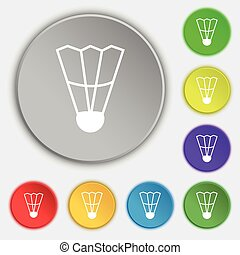Shuttlecock icon sign. Symbol on eight flat buttons. Vector