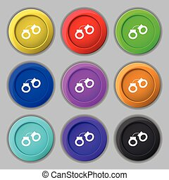 handcuffs icon sign. symbol on nine round colourful buttons....