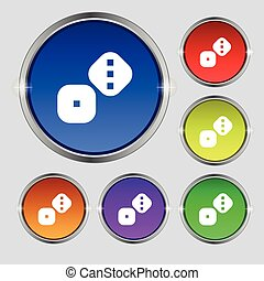 Dice Cubes icon sign. Round symbol on bright colourful...