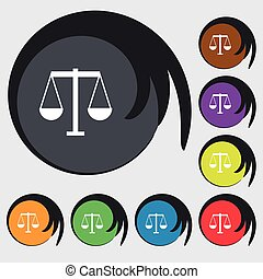 Scales of Justice icon sign. Symbols on eight colored buttons. Vector