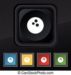 Bowling icon symbol. Set of five colorful, stylish buttons on black texture for your design. Vector
