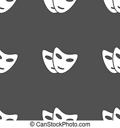 mask icon sign. Seamless pattern on a gray background. Vector