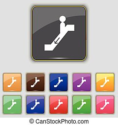 escalator down Icon sign. Set with eleven colored buttons...